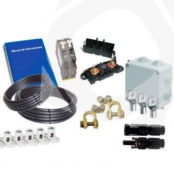 kit material electrico REBT para kits solares básicos o medios con 2 baterias monoblock