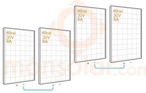 serie-paralelo conexión de placas solares