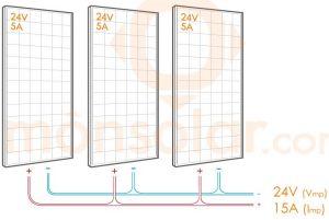 conectar en paralelo 3 placas solares