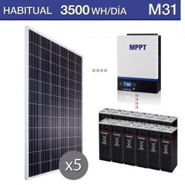 Kit solar para vivienda permanente de 3500Wh/dia y autonomía para 3 días
