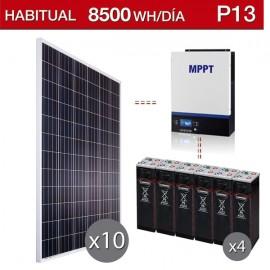 Kit solar fotovoltaico para vivienda permanente consumo 8.500Wh/día