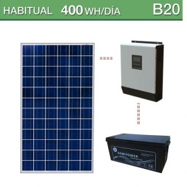 Kit solar de consumo habitual 400Wh/día B20