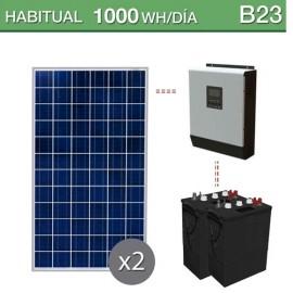 Kit solar para consumo habitual de 1000Wh/día durante todo el año