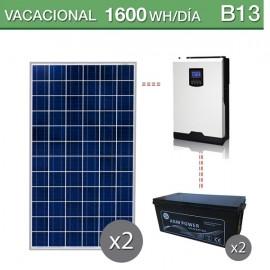 Kit solar 3000W potencia y 1600Wh/dia consumo vacacional
