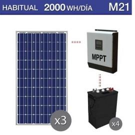 Kit solar para consumo medio habitual de 2000Wh/dia