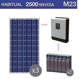 Kit solar con consumo habitual medio de 2500Wh al dia y baterías de 15 años