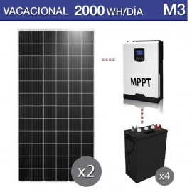 kit de placas solares para caseta de campo para poco consumo 2000Wh/día