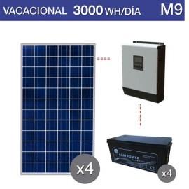 Kit solar de consumo vacacional 3000wh/día con baterías AGM