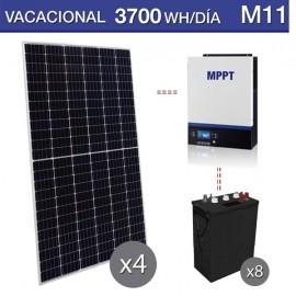 kit solar vacacional 3700Wh dia y baterías de ciclo profundo