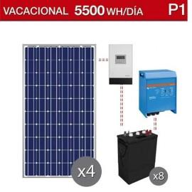 kit solar para segunda residencia con consumo de 5500Wh/dia en verano