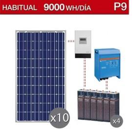 kit solar para chalet habitual de consumo 9000Wh/dia