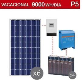 Kit solar para segundas viviendas con consumo de 9000Wh/dia y baterias estacionarias