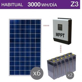 kit solar barato para uso habitual con consumo 3000wh/día