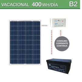 Kit solar con batería AGM para consumo de 400Wh/dia en verano