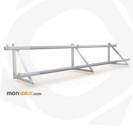 Estrucutra aluminio superficie horizontal con railes para dos placas solares de 24v horizontales