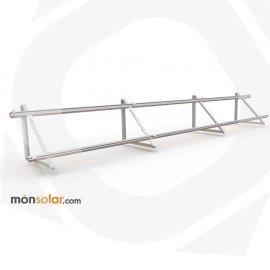 Estructura de aluminio con railes para 3 paneles de 12v horizontales