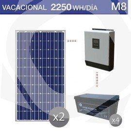 Kit solar de uso veraniego con consumo de 2250Wh/día y baterías monoblock AGM