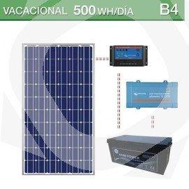 kit solar con consumo vacacional de 500Wh/dia en verano y batería AGM