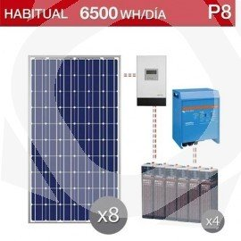 Kit solar vivienda habitual para consumo de 75000wh/dia