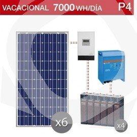 kit solar de uso vacacional en segunda residencia y consumo de 7000Wh/dia