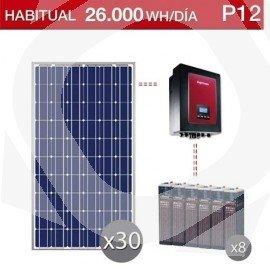 Kit solar con baterías estacionarias para un gran consumo de 26000Wh/dia