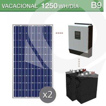 kit solar con baterias de ciclo profundo para un consumo de 1250Wh/día en verano