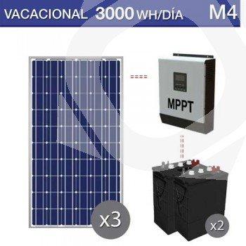 kit solar para un consumo de 3000Wh al dia en vacaciones