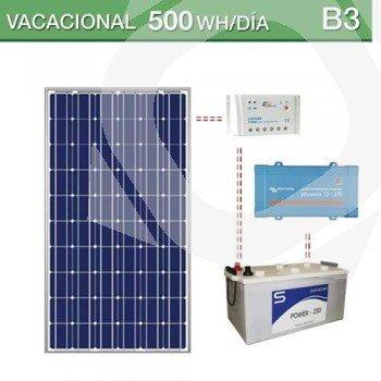Kit solar de consumo 500Wh/día vacacional y baterías plomo-ácido abierta