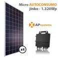 Kit micro Autoconsumo solar 4 placas solares monitorización e inyección 0