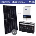 Kit solar 3.000W potencia y 3.500Wh/día consumo habitual - M35