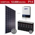 Kit solar 5.000W potencia y 12.000Wh/día consumo vivienda permanente - P14