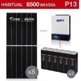 Kit solar 5.000W potencia y 8.500Wh/día consumo para vivienda habitual - P13