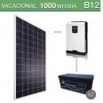 Kit solar 3000W potencia y 1000Wh/día consumo vacacional - B12
