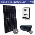 Kit solar 3000W potencia y 2000Wh/día consumo vacacional - M8