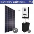 Kit solar 3000W potencia y 2250Wh/día consumo vacacional - M3