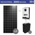 Kit solar 3000W potencia y 3000Wh/día consumo vacacional - M4