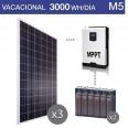 Kit solar 3000W potencia y 3000Wh/día consumo vacacional - M5