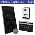 Kit solar 3000W potencia y 4500Wh/día consumo habitual - M34