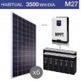 Kit solar 3000W potencia y 3500Wh/día consumo habitual - M27