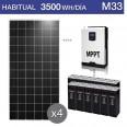 Kit solar 3.000W potencia y 3.500Wh/día consumo habitual - M33