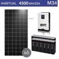 Kit solar 3.000W potencia y 4.500Wh/día consumo habitual - M34