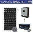 Kit solar 3200W potencia y 3000Wh/día consumo vacacional- M9