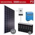 Kit solar 5000W potencia y 5500Wh/día consumo vacacional- P3