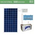 Kit solar 250W potencia y 500Wh/día consumo vacacional - B3