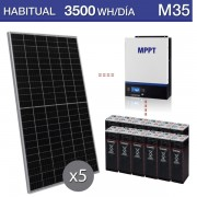Kit solar de 3500Wh/dia y autonomía para 3 días M35