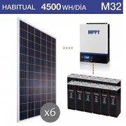 Kit solar vivienda permanente consumo de 4500Wh/día durante todo el año