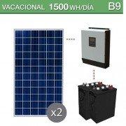 kit solar con baterias de ciclo profundo para un consumo de 1500Wh/día en verano