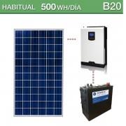Kit solar de consumo habitual 500Wh/día B20