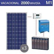 Kit solar medio de 2000Wh/día a 12Voltios con baterias estacionarias