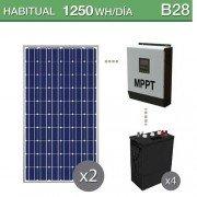 kit solar con baterías de ciclo profundo para consumo habitual de 1250Wh/día